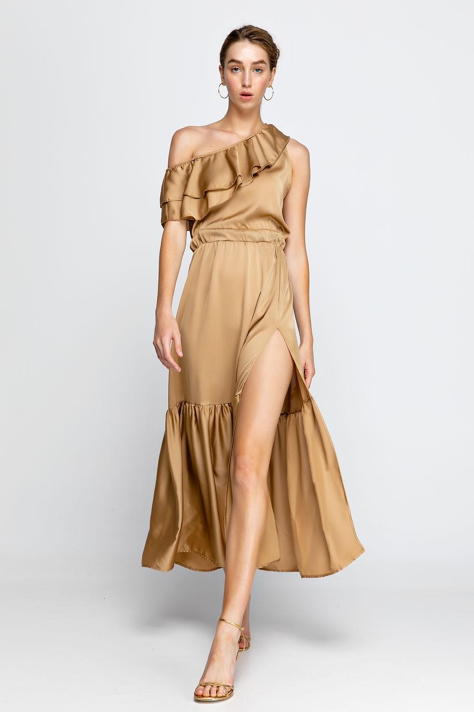 62c418cdb67 Φόρεμα μακρύ με έναν ώμο