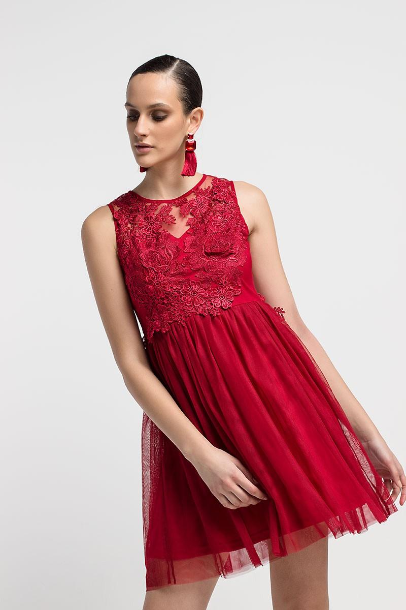 6b36e3abab9 Φόρεμα με δαντέλα και τούλι