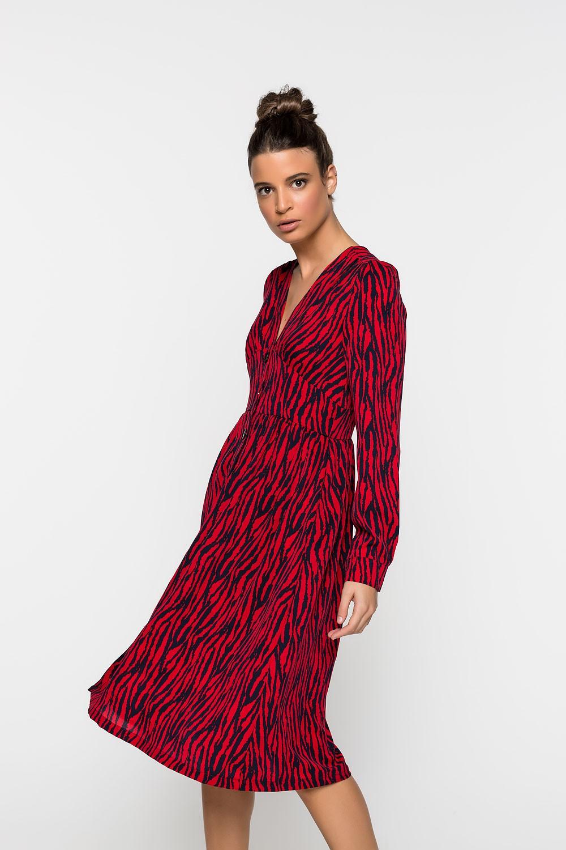 Φόρεμα με print και κουμπιά