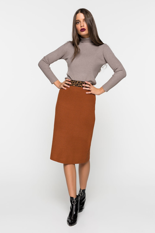 Πλεκτή φούστα με λεοπάρ λεπτομέρια