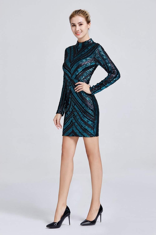 Φόρεμα μακρυμάνικο με παγιέτα
