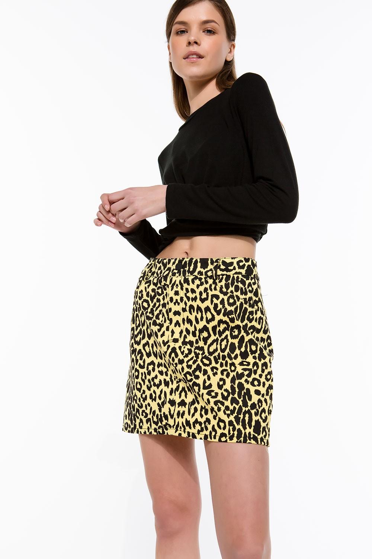 Φούστα τζιν με leopard print