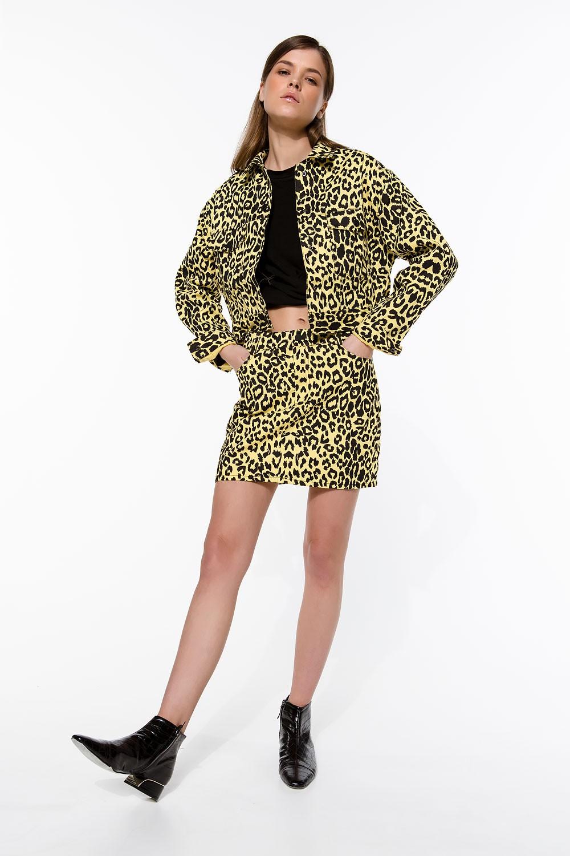 Τζάκετ τζιν με leopard print