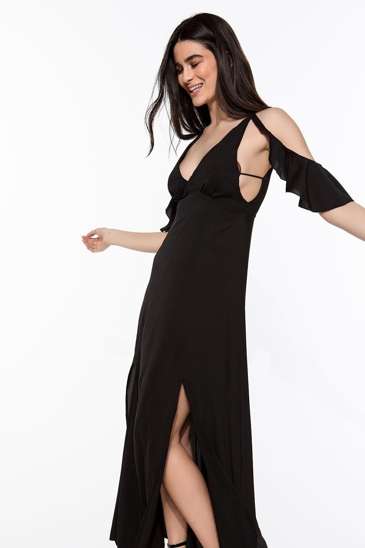 Φόρεμα μάξι με βολάν στον ώμο