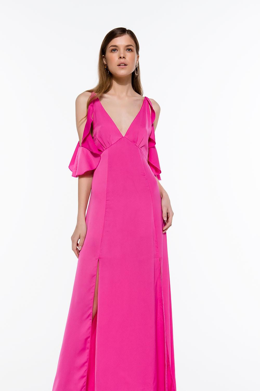 3950a7870a4 Φόρεμα μάξι με βολάν στον ώμο - Bettina Stores Bettina Stores