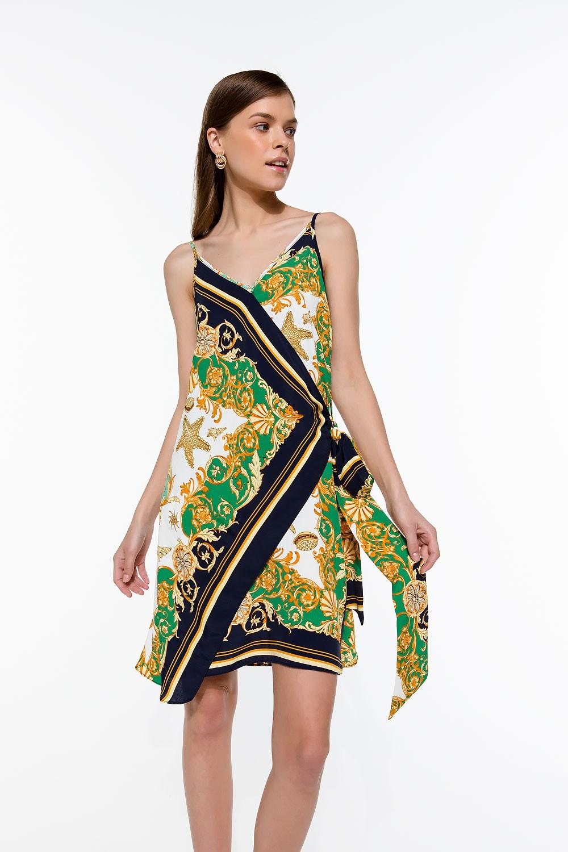 Φόρεμα με τιράντα και print