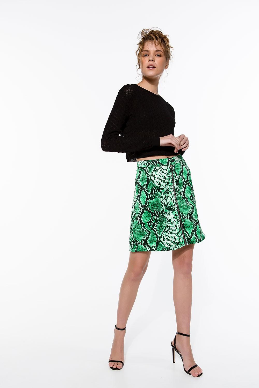 Φούστα με snake print και φερμουάρ