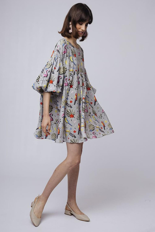 Φόρεμα tropical με φουσκωτό μανίκι