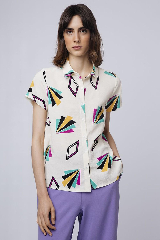 Geometrical κοντομάνικο πουκάμισο