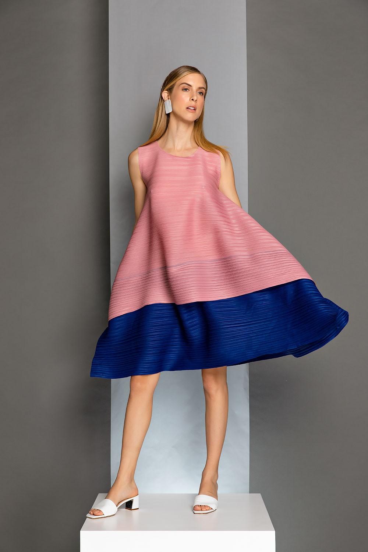Double Layer Plissé dress