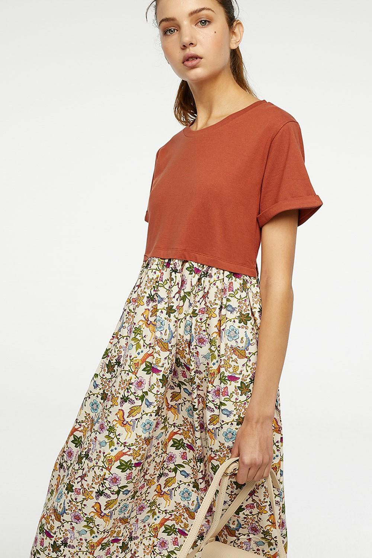 Φόρεμα με διχρωμία floral