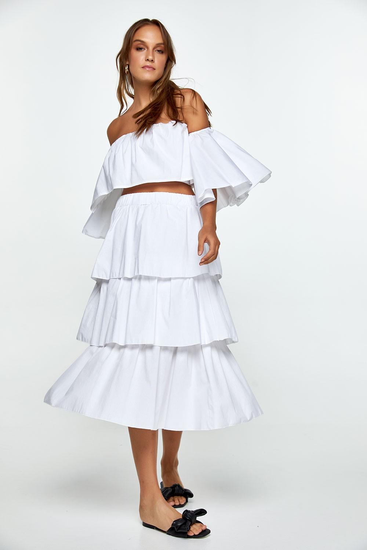 Φούστα βαμβακερή με βολάν