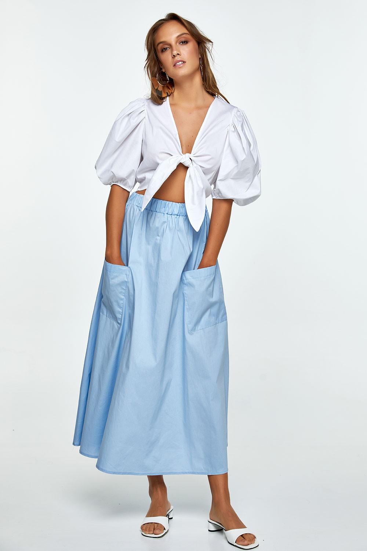 Βαμβακερή φούστα με τσέπες