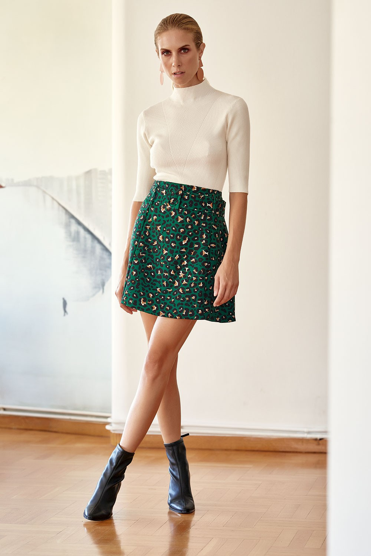 Φούστα με print και ζώνη
