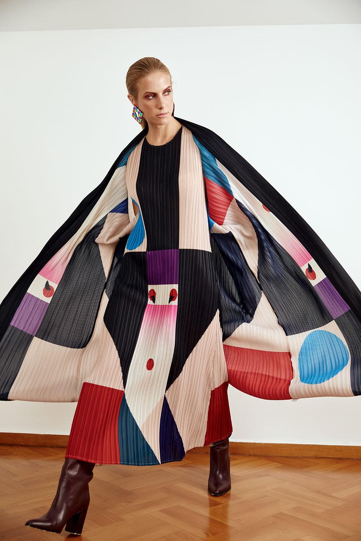 Japanese printed plisss Kimono