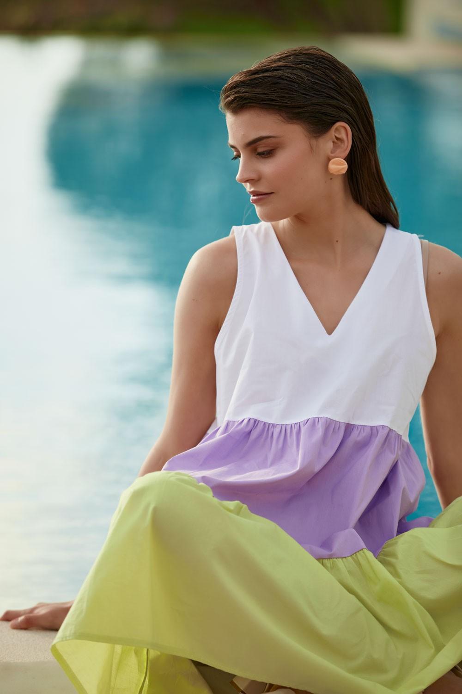 Φόρεμα αμάνικο βαμβακερό με τριχρωμία