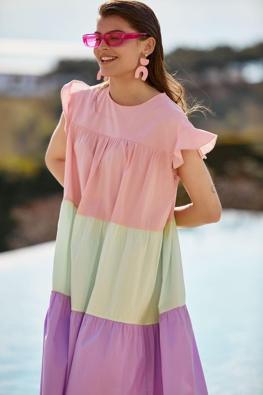 Φόρεμα βαμβακερό με τριχρωμία με μανίκι