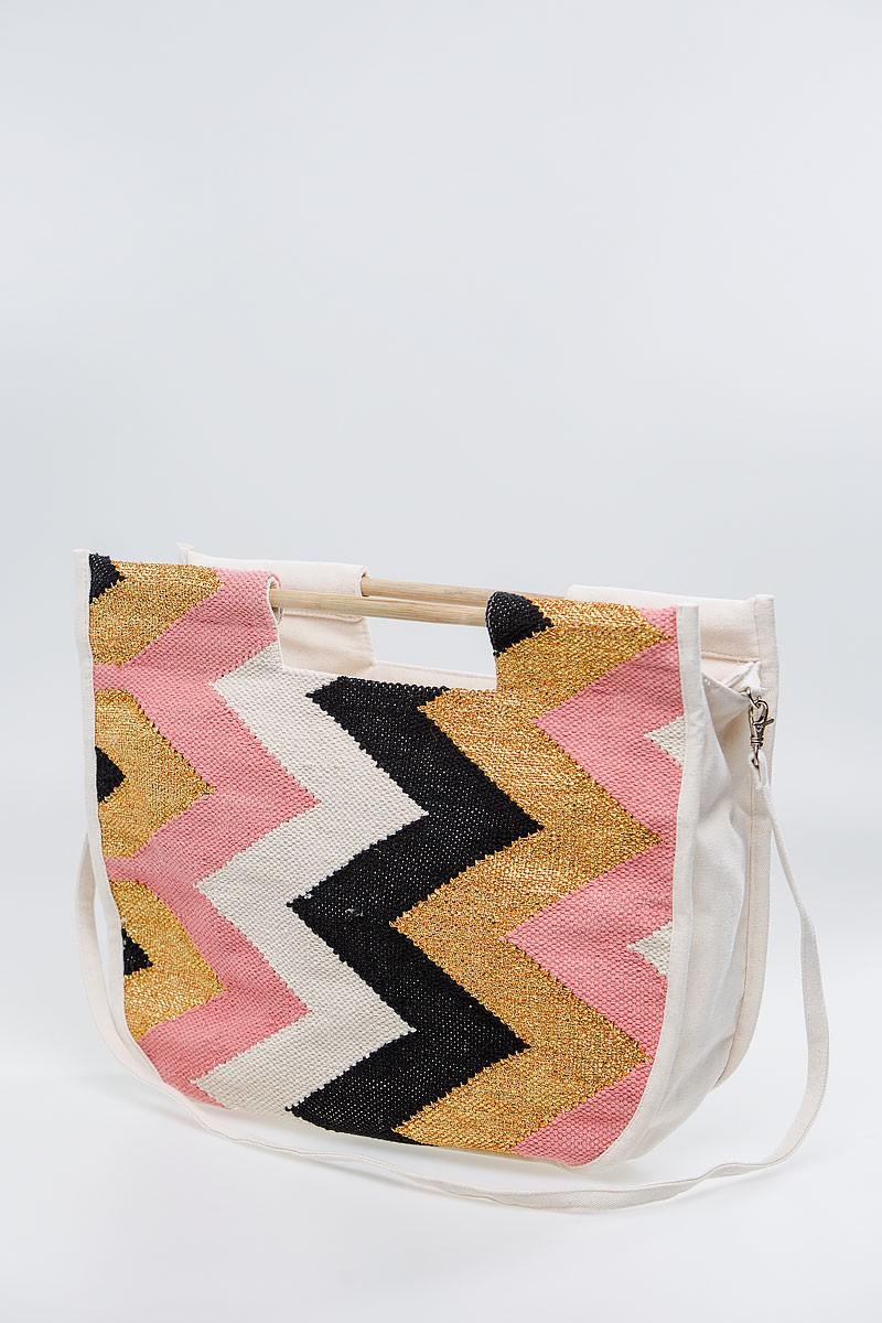 Τσάντα με ξύλινα χερούλια