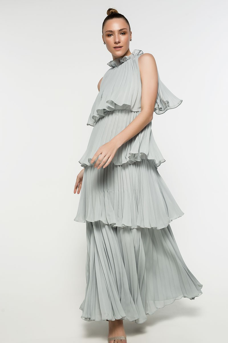 abe482dcd07 Μαξι φόρεμα με πλισέ βολάν