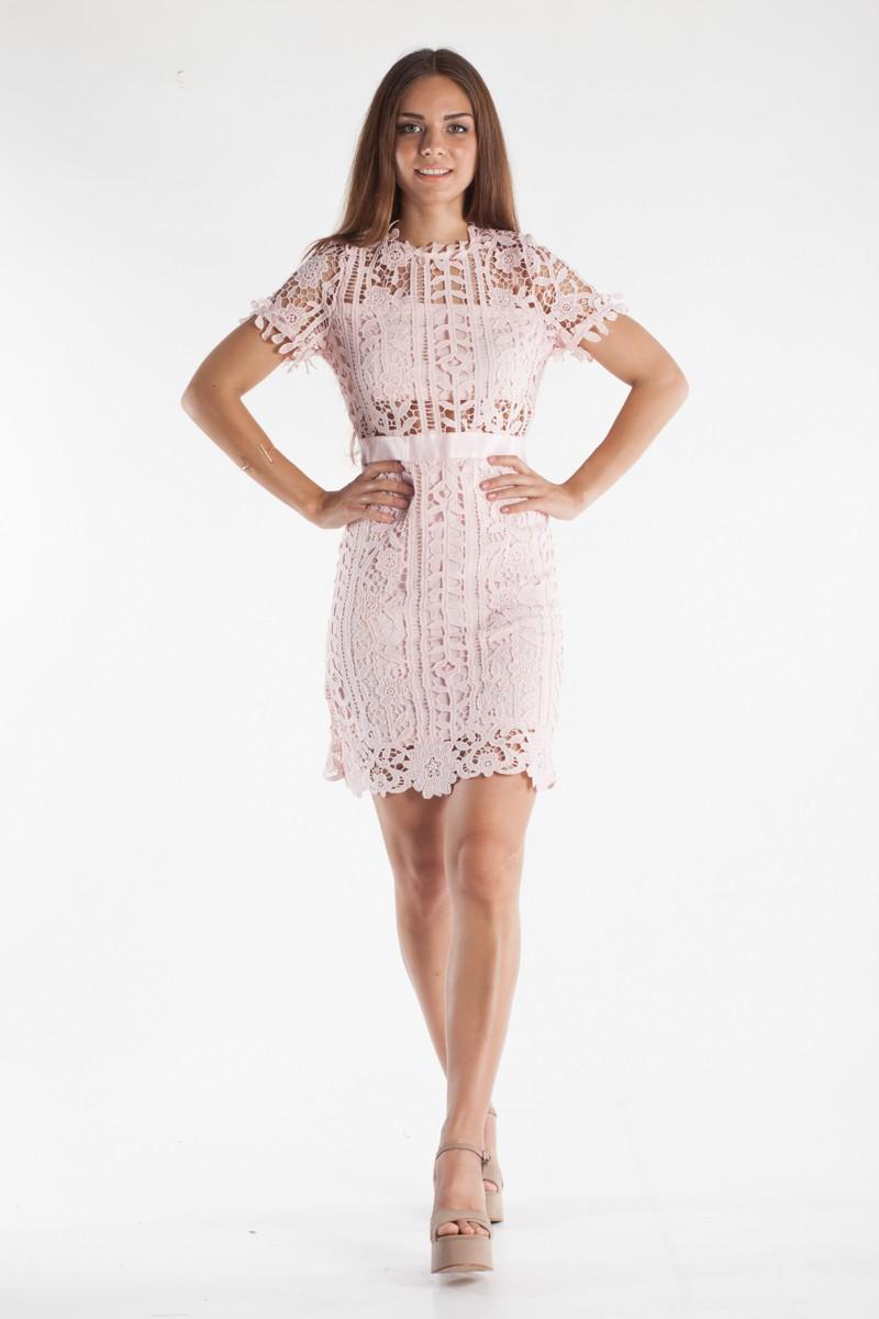88b7045bda2a Φόρεμα με δαντέλα και κοντό μανίκι - Bettina Stores Bettina Stores