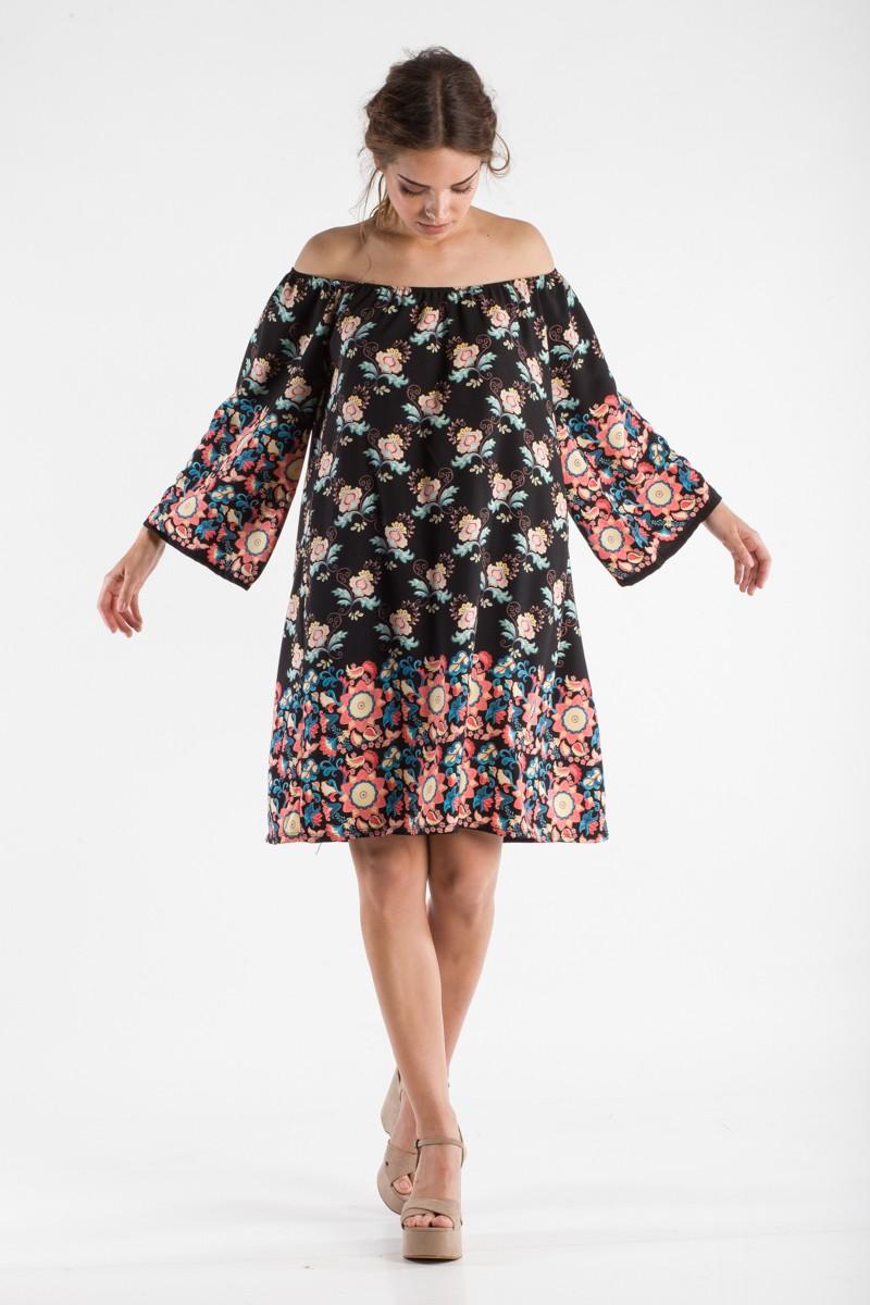 46ff6c81541 Φλοράλ φόρεμα με 3/4 μανίκι - Bettina Stores Bettina Stores